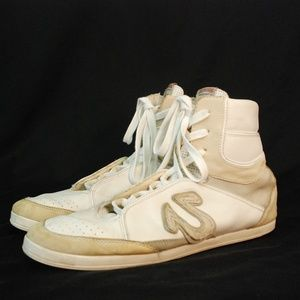 True Religion White Leather High Top Sneaker